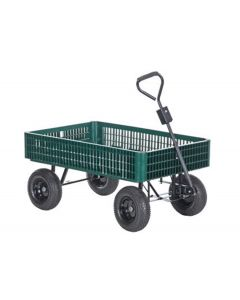 "Vestil Landscape Cart 30"" x 46.5"" Green Plastic Crate Cart"